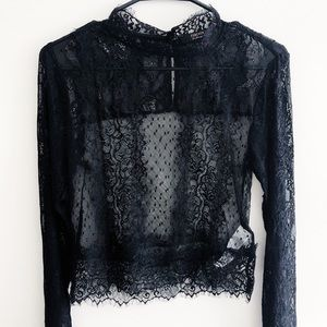 Black Sheer Lace Embroidered Top